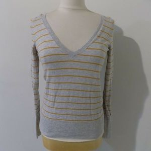 J. CREW Gray and Mustard Striped Sweater, XSmall